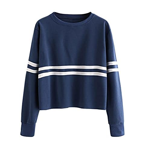 HCFKJ Mode Casual Sweat Womens Drop Manches Longues Col O-Neck Chemisier (L, marine)