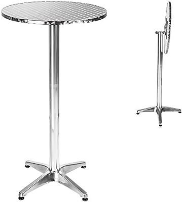 TecTake Mesa de bar bistró de aluminio altura ajustable 74 o 114 cm plegable - Diámetro de la pata: 5,8 cm - 8,3 kg