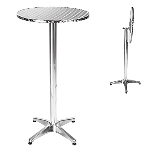 TecTake Folding round bar bistro table aluminium 2 adjustable heigts Ø 60cm - Weight: 8,3 kg - Fork tube Ø: 5,8 cm by TecTake