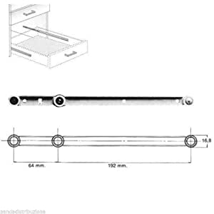 Oreca Guides Elfenbein nahtlose Stahlfalle für Schubladen 2 Stück 270 mm
