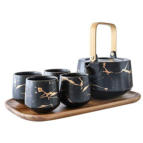Utensilios de cocina Kaffee-Set Porzellan, Home Keramik-Tee-Set, Teekanne Teetasse Holzschalen, Matt...