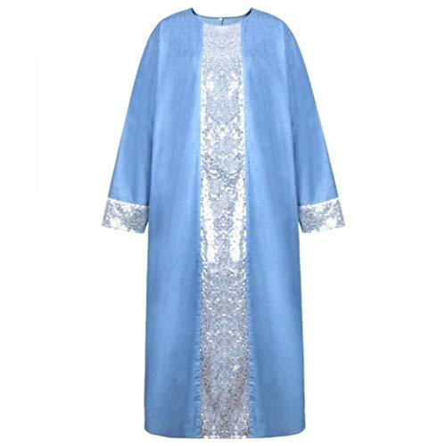 MIRRAY Damen Pailletten Langes Kleid Islamischen Muslimischen Nahen Osten Robe Langarm Kleider