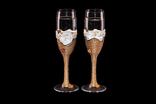 Boda tostado copas de champán flautas Vintage rústico País Art Deco