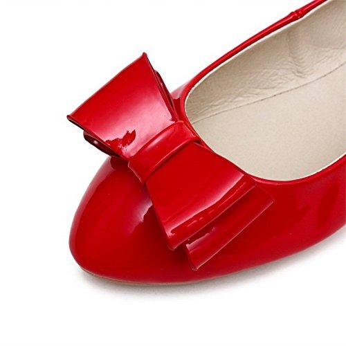 AgooLar Femme Rond Tire Matière Mélangee Couleur Unie à Talon Bas Chaussures Légeres Rouge