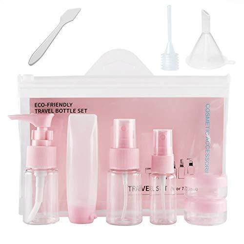 9in1 Rosa Leere Reiseflaschen Reise Flaschen Set für Körperpflege Flüssigkeitsbehälter tragbare Reise Zubehör, Kosmetik Container Leakproof für Shampoo, Creme, Sprühen, Gel