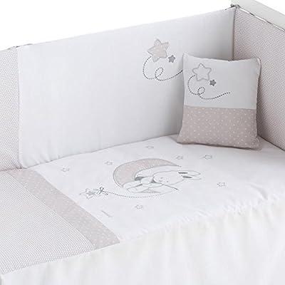Edredón de cuna desenfundable + protector desenfundable + Cojín Lune Blanco Gris, tamaño CUNA 60 x 120