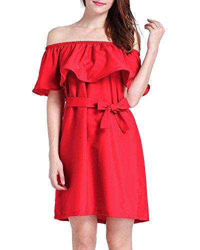 Minetom Femme Sexy Élégant Epaule Dénudé Robe de Plage Soirée Parti Dress Cocktail Rouge