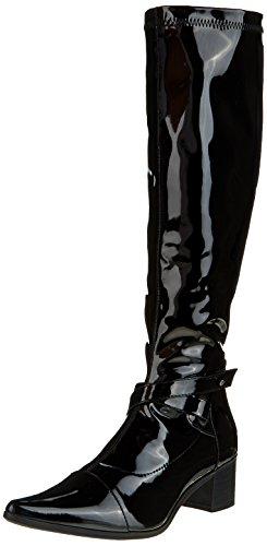 Initiale Damen Souka Klassische Overknee-Stiefel Schwarz (Schwarzer Lack)