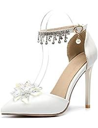 5630dc83c861 Damen Hochzeit Brautschuhe Schuhe Knöchelriemen Sandalen Hochzeitsschuhe  Spitz Weiße Absatz Pumps Gericht Schuhe Kristall Perle Diamante