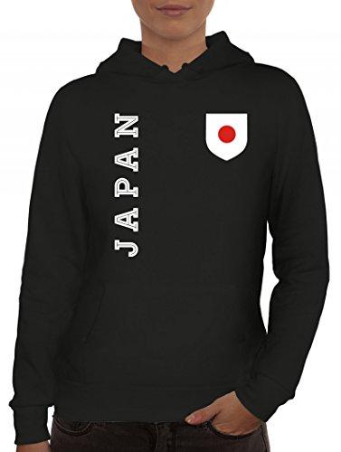 Wappen Fußball WM Fanshirt Gruppen Damen Hoodie Frauen Kapuzenpullover Fan Trikot Japan, Größe: M,Schwarz