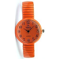 Mab London Unisex Retro Small Orange Dial Plastic Orange Elastic Strap Watch