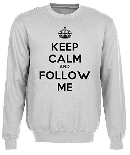 Keep Calm And Follow Me Uomo Grigio Felpa Felpe Maglione Pullover Grey Men's Sweatshirt Pullover Jumper