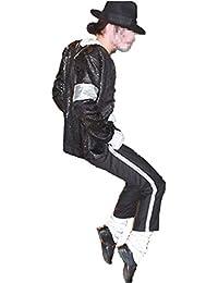 Michael Jackson Cosplay Kid Disfraz de Cosplay para Adultos 4pcs MJ Billie Jeans Jacket + Pant + Socks + Guante