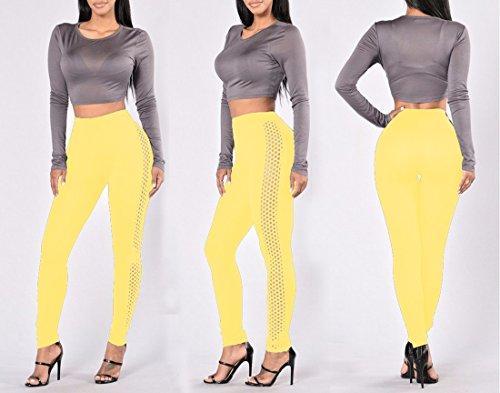QIYUN.Z Femmes Mode Solides Couleur Latérale Grille Maigre Pantalon Leggings Haute Taille Jaune