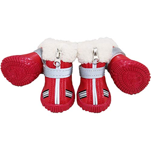 2871aa9dd3954 Dog Boots Dog Shoes - Paw Protector Pet Shoes Winter Warm Waterproof  Anti-Slip With Zipper for Small Medium Dog, Rose Red, XS