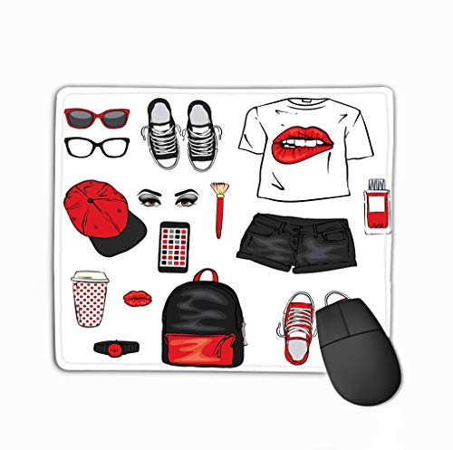 Customized Rectangle Mousepad,Cute Gaming Mouse Pad Mat 11.81 X 9.84 Inch Set Women s Clothes Teenage Style Print Form Lips Backpack Sneakers Watch Smartphone Cap Short Shorts