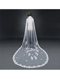 6cdb62b882 AN-LKYIQI Velo de la Boda Estilo Europeo Encaje Super Soft Tailing Bride  Velo de la Boda Sola Capa con el Peine…