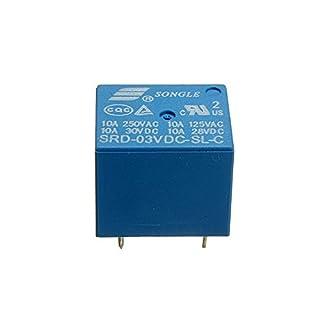 ADAALEN 5Pcs SONGLE Mini 3V DC Power Relay SRD-3VDC-SL-C PCB Type