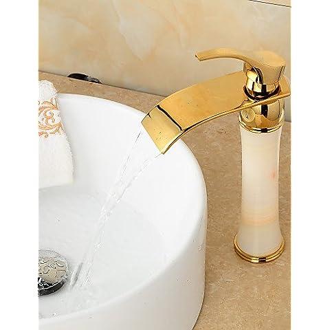 LONG-art deco / retro ti-pvd acabado de jade bronce cascada grifo del fregadero cuarto de baño de oro