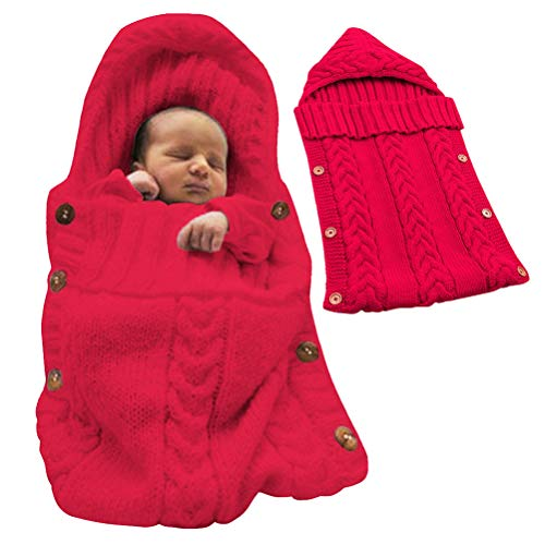 Tomwell Saco de Dormir Unisex para Bebés Recién Nacidos Manta para Bebé Carrito de Bebé Blanket Manta para 0 – 12 Meses Rojo 72X35 CM