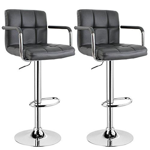WOLTU BH16 Serie Design Barhocker mit Armlehne, 2er Set, stufenlose Höhenverstellung, verchromter Stahl, Antirutschgummi, pflegeleichter Kunstleder, gut gepolsterte Sitzfläche (Grau)