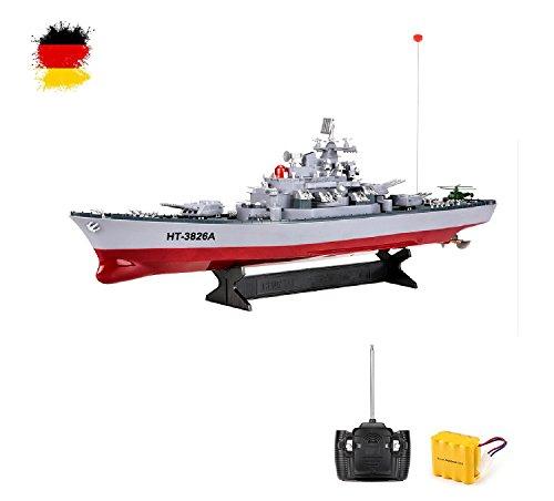 HSP Himoto 1:250 RC ferngesteuertes Schlachtschiff Zerstörer Schiff-Modell Kriegsschiff Modellbau, Ready-To-Run ,Komplett-Set Inkl. Zubehör