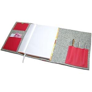 Kalender Organizer Kalenderhülle Hülle Einband Merino Wollfilz mit Leder und Gummiband Farbwahl für Din A5 Buchkalender, Notizbuch, Buch