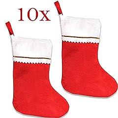 Idea Regalo - Jonami 10 Calze Befana da Riempire, Calze di Natale Vuota Grande. Calza dal Design Tradizionale Rosso e Bianco. Decorazioni e Accessori di Natale da Appendere.