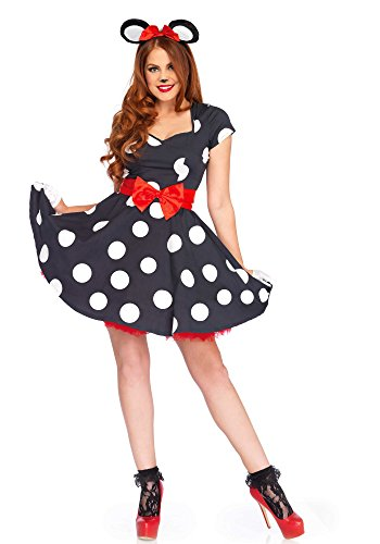 Sexy Kostüm Maus Miss - Leg Avenue LO85645 Miss Mouse Kostüm, Schwarz/weiß, Medium (EUR 38/40)