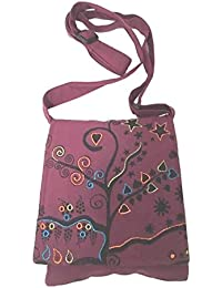 Maroon Handmade Hippie Boho Cross Body Passport Bag With Embroidered Tree Of Life By The Boho Hippie