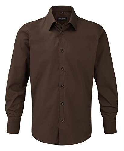 Russell Collection Men's Easycare fitted Long Sleeve Shirt Chocolat