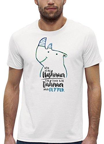 Premium Herren T-Shirt Bio Baumwolle Ich mag Nashörner - sie sind wie Einhörner nur fetter White