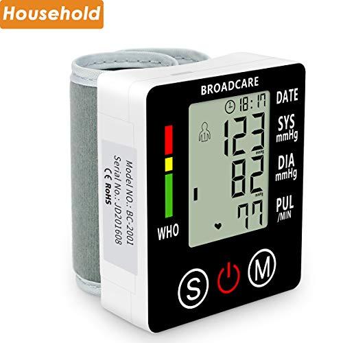Blutdruckmessgerät Hangelenk von Broadcare, Vollautomatische Blutdruk-und Pulsmessung, 2x 99 Speicherplätze, verstellbare Manschettengröße, eingebauter wieder aufladbarer Akku