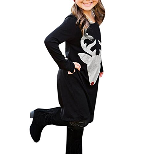 Hirolan Mom & Me Weihnachten Kleid Mädchen Frau Hirsch Drucken Kleider Lange Ärmel Familie Outfits Mama Tochter Outfit (110, Tochter) ()