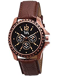 Watch Me Black Dial Brown Leather Strap Watch For Men And Boys AWC-008