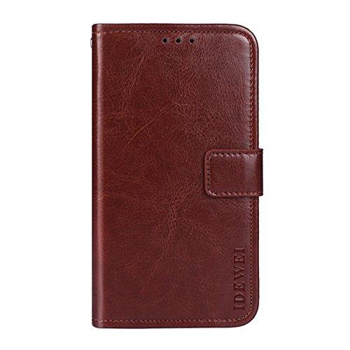 KALLOWLY Funda para Xiaomi Mi Mix 2S,Funda Cuero Protectora Vintage Estuche Billetera con Soporte, Ranuras de Tarjeta y Cierre Magnético para Xiaomi Mi Mix 2S(Brown)