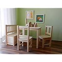 Preisvergleich für Best of JAM® Kindersitzgruppe 1x Kindertisch 2x Kinderstuhl 1x Kindersitzbank mit Deckelbremse UNBEHANDELT MASSIVHOLZ NEU & OVP