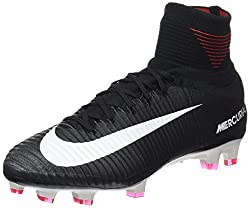 NIKE MENS MERCURIAL SUPERFLY V FG SOCCER CLEATS (BLACK/WHITE/DARK GREY) (9)