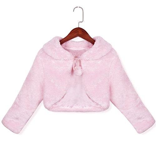 YiZYiF Baby Mädchen Pelz Bolero Strick Kinder Schulterjacke Kragen Winter Jacke Mantel für besondere Anlässe oder Weihnachten Party 86-128