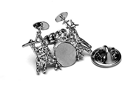 Polished Drum Kit silver-plated pin badge gift musician conductor teacher student