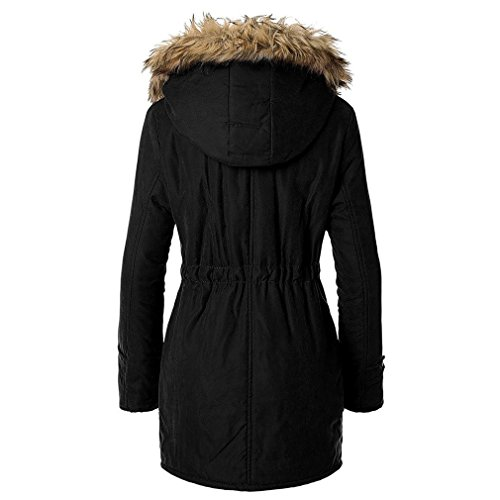Blivener Frauen Warm Winter Baumwollfleece Gefüttert Parka Faux Pelz Kapuzenjacke Mantel Schwarz
