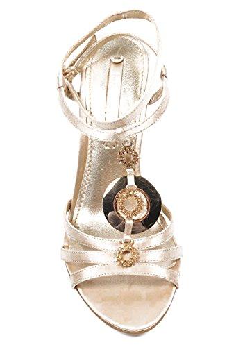 NINE WEST - Donna Cuneo Della Caviglia Cinghia Sandali NWJUVELIE IVORY Tacco: 10 cm Grigio chiaro