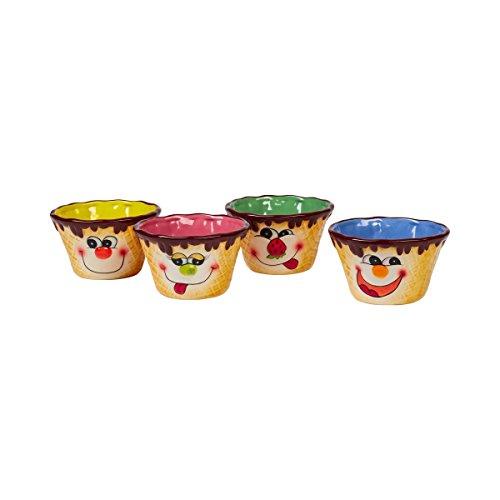 Eisschälchen, Eisbecher Dessertschale Eisschale mit Eiswaffelmotiv & Gesicht, Schüssel bunt, 4 Stück, Steingut