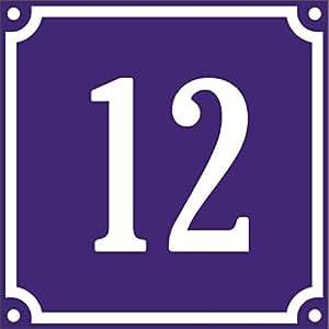 Plaque de porte avec numéro de rue personnalisable -12-10 x 12 cm - vendue avec visseries et bouchons