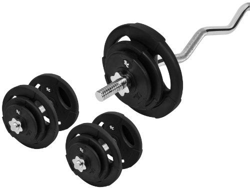 Gummi-Gripper Hantel-Set 47Kg (1 x SZ-Hantelstange 120cm, 2 x Kurzhantelstange 35cm, 4x1,25, 4x2,5 und 4x5Kg Hantelscheiben) Gewichte Kurzhanteln Hantelset Set