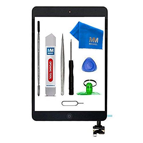 MMOBIEL Digitizer Display Glas für iPad Mini 1/2 (Schwarz) 7.9 Inch Touchscreen Ersatzteil Inkl Flex Home Button + Kamera Halterung + Klebesticker mit IC Chip und Werkzeugset mit Anleitung (Ipad 1 Digitizer)