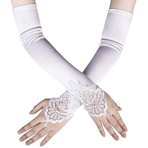 Ksnrang Damen Lange Handschuhe Satin Classic Opera Fest Party Hochzeit Braut Handschuhe 1920er Stil Handschuhe Elastisch Erwachsene Größe bis Handgelenk Länge (45cm-weiß)