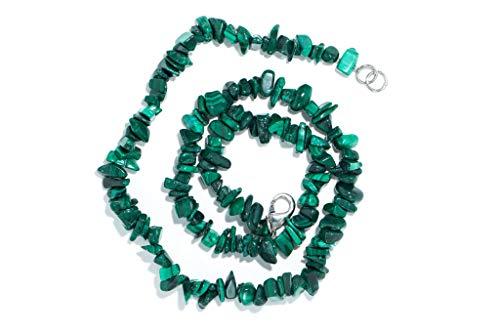 Taddart minerals - sdoppiatore verde collana in pietra malachite naturale con 45 cm di lunghezza - fatto a mano
