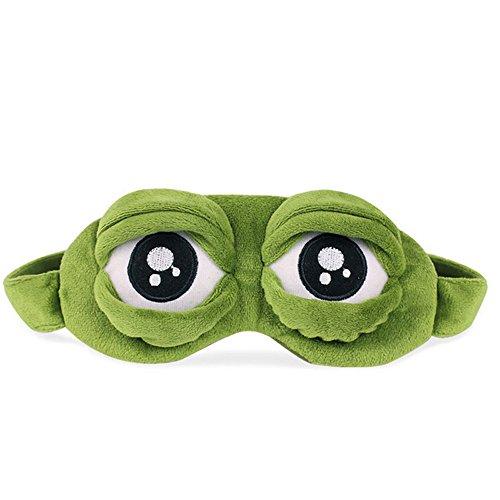 3D Frosch-Augenmaske Plüsch Tuch Schattierung Augenbinde, Unisex Schlafmaske,Cartoon-Augenklappe, lustiges Geschenk, kreativer niedlicher Schlaf-Augenschutz,Gemütlich Augenmaske