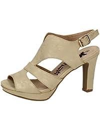 VogueZone009 Mujeres Piel De Oveja Puntera Cerrada Slip-on Tacón Medio Zapatos?de Tacón, Negro, 34